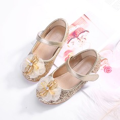Girl's Round Toe Closed Toe Sparkling Glitter Flats With Bowknot Velcro