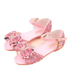Girl's Peep Toe Leatherette Flower Girl Shoes With Bowknot