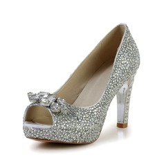 Women's Leatherette Cone Heel Peep Toe Platform Sandals With Rhinestone