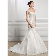 Trumpet/Mermaid Sweetheart Court Train Tulle Wedding Dress With Beading Appliques Lace Sequins