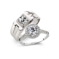 Sterling Silver Cubic Zirconia Round Cut Couple's Rings (289229818)