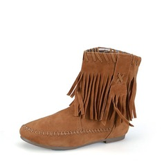 Women's Suede Flat Heel Boots Ankle Boots With Tassel Others shoes (088115505)