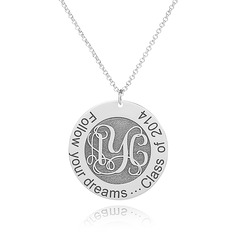 Custom Sterling Silver Engraving/Engraved Vintage Monogram Necklace Circle Necklace - Birthday Gifts Mother's Day Gifts