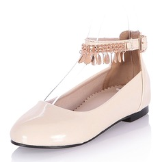 Women's Patent Leather Low Heel Flats Closed Toe Mary Jane With Tassel shoes