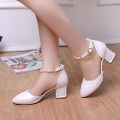 Women's Leatherette Chunky Heel Closed Toe Pumps With Imitation Pearl