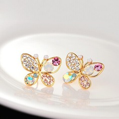 Butterfly Shaped Alloy/Rhinestones Ladies' Earrings