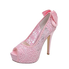 Women's Lace Stiletto Heel Peep Toe Platform Pumps Sandals With Bowknot