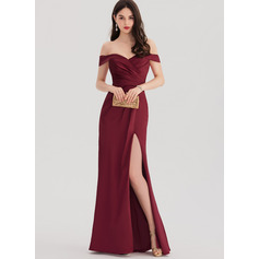Sheath/Column Off-the-Shoulder Floor-Length Satin Prom Dresses With Ruffle Split Front (272253282)