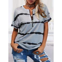 Regular Fitted Print Casual Short Sleeves (1003258198)