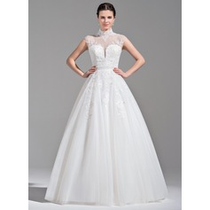Ball-Gown High Neck Floor-Length Tulle Wedding Dress With Beading Appliques Lace Sequins