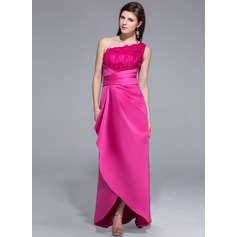 Sheath/Column One-Shoulder Asymmetrical Satin Lace Evening Dress With Ruffle