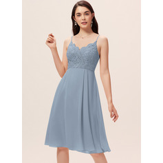 A-Line V-neck Knee-Length Chiffon Lace Bridesmaid Dress