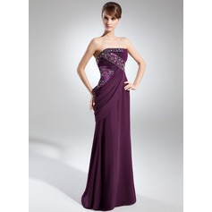 Sheath/Column Strapless Floor-Length Chiffon Evening Dress With Ruffle Beading