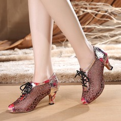 Women's Lace Heels Sandals Swing With Lace-up Dance Shoes