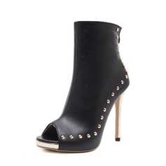 Women's PU Stiletto Heel Pumps Boots Peep Toe Mid-Calf Boots With Rivet Zipper shoes