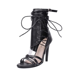 Women's PU Stiletto Heel Pumps Boots Peep Toe Mid-Calf Boots With Zipper Lace-up shoes