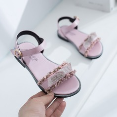 Jentas Titte Tå Slingback Leather flat Heel Sandaler Flate sko Flower Girl Shoes med Velcro Crystal