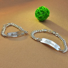 Personalized Ladies' Exquisite 925 Sterling Silver Engraved Bracelets For Friends/For Couple