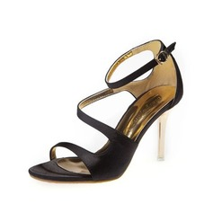 Satin Stiletto Heel Sandals With Buckle shoes