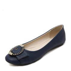 Women's PU Flat Heel Flats Closed Toe With Buckle shoes (086138731)