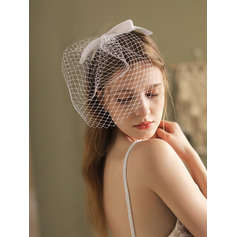 Two-tier Cut Edge Birdcage Veils With Satin Bow
