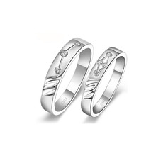 Gorgeous Sterling Silver With Crystal Couples' Rings