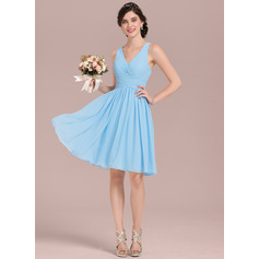 A-Line V-neck Knee-Length Chiffon Bridesmaid Dress With Ruffle