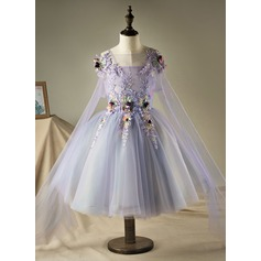 A-Line/Princess Knee-length Flower Girl Dress - Polyester/Cotton Sleeveless Straps With Beading/Flower(s) (Wrap included)