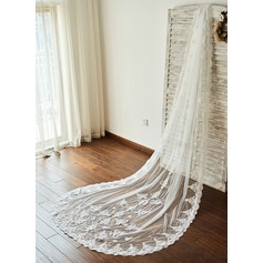 One-tier Lace Applique Edge Cathedral Bridal Veils With Applique (006096139)
