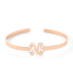 [Free Shipping]Christmas Gifts For Her - Custom 18K Rose Gold Plated Sterling Silver Cuff Bangles & Cuffs