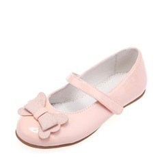 Girl's Patent Leather Flat Heel Round Toe Flats With Bowknot Velcro