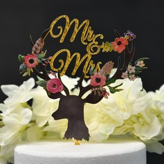 Mr. & Mrs./Flower Acrylic Cake Topper (Sold in a single piece)