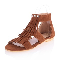 Suede Flat Heel Sandals Flats Peep Toe With Zipper Tassel shoes