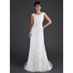 Sheath/Column Scoop Neck Court Train Lace Wedding Dress With Ruffle Beading