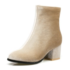 Women's Fabric Chunky Heel Pumps Boots Mid-Calf Boots With Zipper shoes