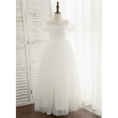Ball-Gown/Princess Floor-length Flower Girl Dress - Tulle/Lace Short Sleeves Scoop Neck With Sequins