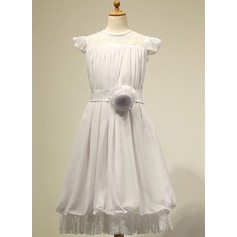 A-Line/Princess Tea-length Flower Girl Dress - Chiffon Sleeveless Scoop Neck With Lace/Flower(s)