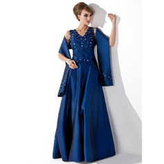 A-Line/Princess V-neck Floor-Length Taffeta Mother of the Bride Dress With Lace Beading Sequins