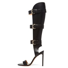 Women's Leatherette Stiletto Heel Sandals Knee High Boots shoes (087086332)