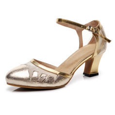 Women's Leatherette Sandals Latin Modern Ballroom With Rhinestone Hollow-out Dance Shoes