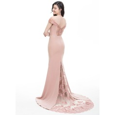 Trumpet/Mermaid Off-the-Shoulder Court Train Stretch Crepe Prom Dresses
