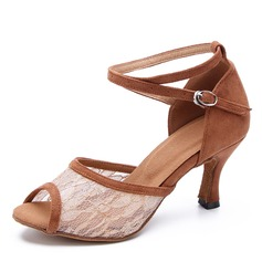 Women's Suede Mesh Heels Latin Dance Shoes