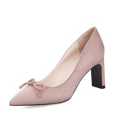 Women's Suede Chunky Heel Closed Toe Pumps With Bowknot