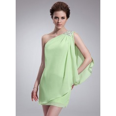 Sheath/Column One-Shoulder Short/Mini Chiffon Homecoming Dress With Ruffle Beading