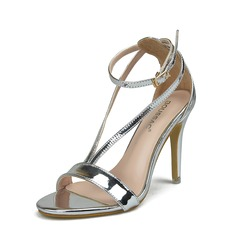 Women's Patent Leather Stiletto Heel Sandals Peep Toe With Buckle shoes