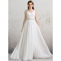 A-Line/Princess V-neck Floor-Length Chiffon Wedding Dress With Ruffle Lace Beading