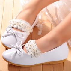 Girl's Round Toe Microfiber Leather Flat Heel Flats Flower Girl Shoes With Imitation Pearl Stitching Lace Flower