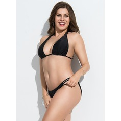 Sexy Solid Color Chinlon Bikinis Swimsuit
