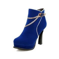 Women's Suede Stiletto Heel Platform Ankle Boots shoes