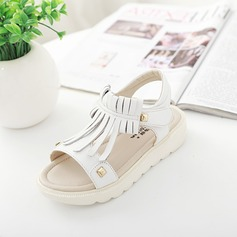 Girl's Real Leather Flat Heel Peep Toe Sandals With Velcro Tassel Rivet
